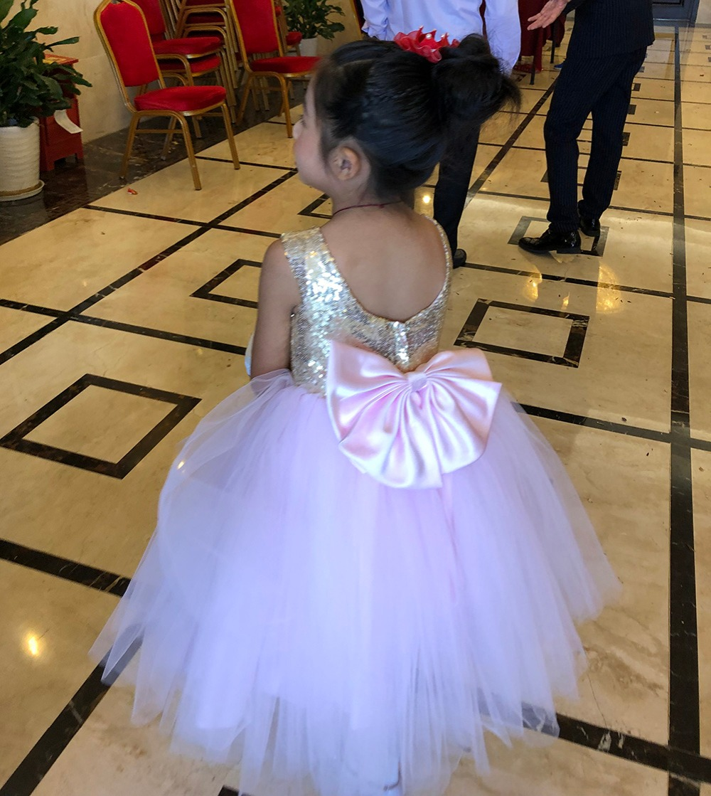 Pink Teen Wedding Dress Sequin Knee Length O-neck Paillette Girls Sequin Dress for Girls Sequin Evening Dress Tutu with Bowknot (7)