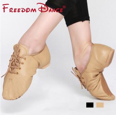 Högkvalitativa Pig Leather Lace Up Jazz Dance Shoes Mjuk Ballett - Gymnastikskor - Foto 2
