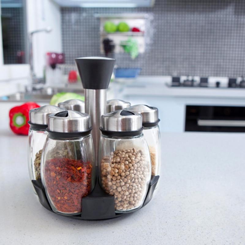 6pcs set rotating spice rack salt and pepper cruet for Kitchen tool 6pcs set