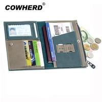 Passport Cover Split Genuine Leather Driver License Bag Car Driving Document Credit Card Holder Purse Wallet