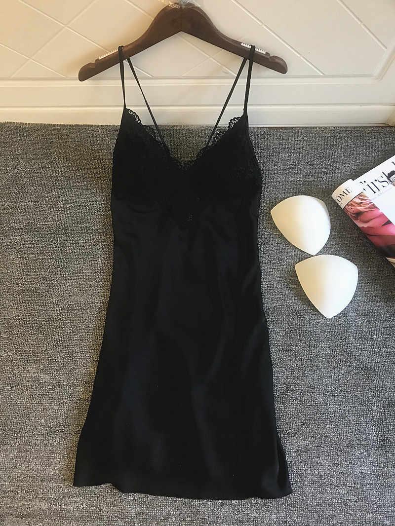 2019 כותנות לילה & כותונת משי הלבשת נשים לילה שמלת Ladie סאטן סקסי הלבשה תחתונה כותונות לילה שינה טרקלין