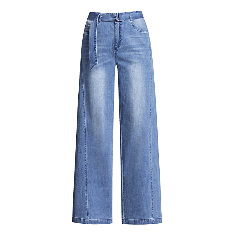 2019 Spring Autumn New Arrival Women Casual Blue Wide Leg Pant High Waist Washed Denim Trousers in Jeans from Women 39 s Clothing