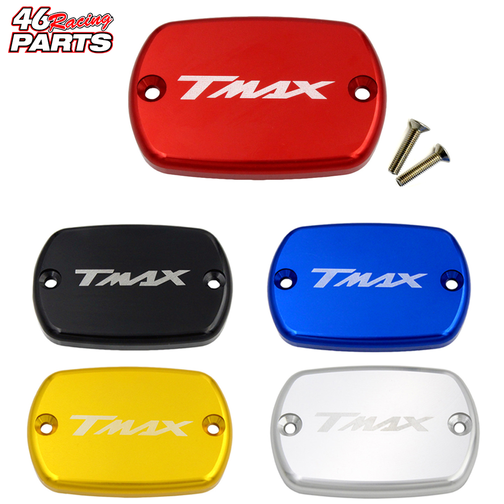 CNC Aluminum Motorcycle Brake Fluid Fuel Reservoir Tank Cap Cover For YAMAHA TMAX 530/500 T-MAX 530/500 TMAX530 TMAX500 riz0ma cnc motorcycle brake fluid oil reservoir cup tank support bracket for ktm yamaha mt07 mt09 tmax500 530 honda yzfr3 r25
