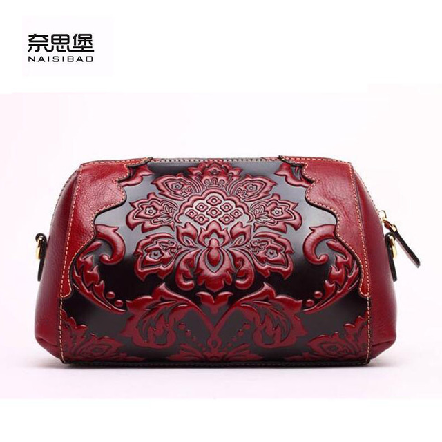 NAISIBAO 2016 New genuine leather women bag fashion chinese style women leather shoulder bag quality cowhide embossing bag