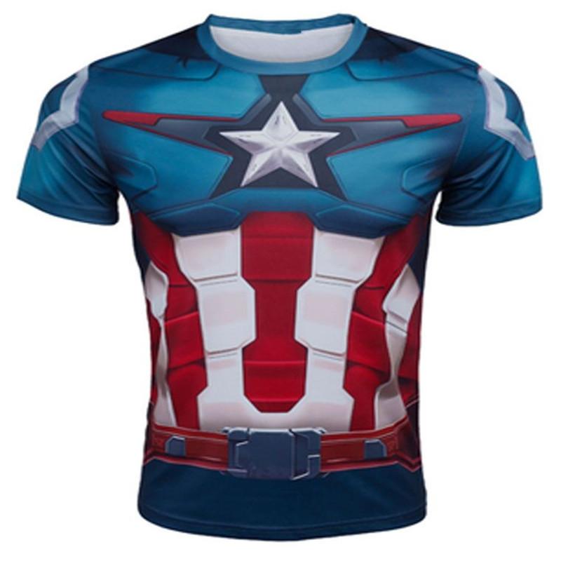 Marvel Super Heroes Captain America Men T shirt Compression Armour Base Layer Short Sleeve Thermal Under Top new Fitness shirt