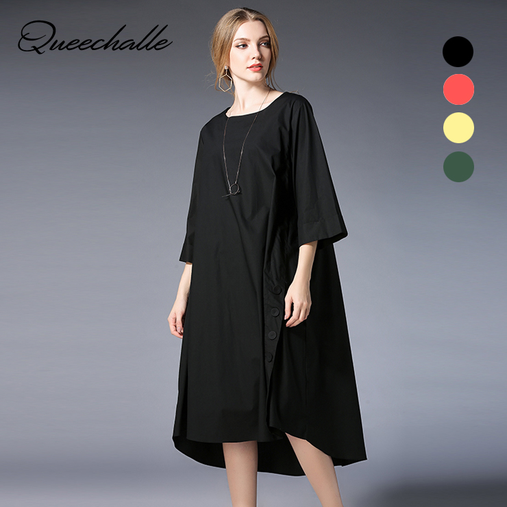 Queechalle Split Loose Shirt Dress Female Three Quarter Casual A Line Dress 4XL Plus Size Dress