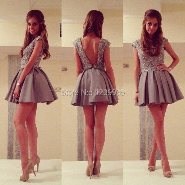 258712de28f Elegant Grey Short Cocktail Dresses Charming Scoop Neckline Cap Sleeves  Heavily Beaded V Back Short Prom Dress Party Gown