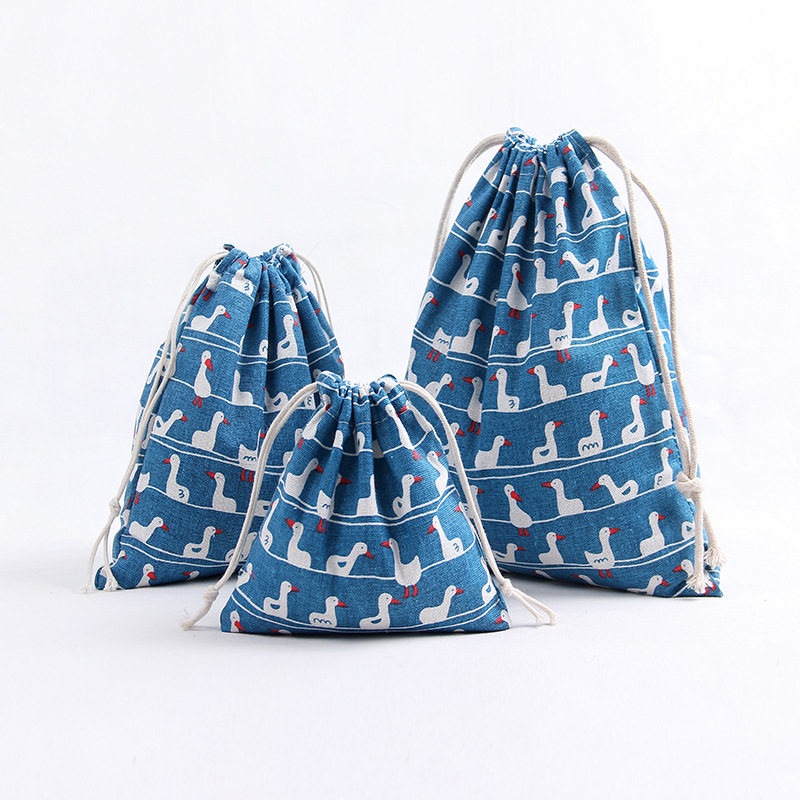 YILE 1pc Party Gift Candy Bag Print Duck Blue Bottom Cotton Linen Drawstring Organizer Birthday  8129c