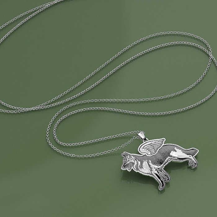 ヒナギクペンダントネックレス犬天使子犬手作り警察 k9 ジャーマンシェパードネックレスペンダントの宝石