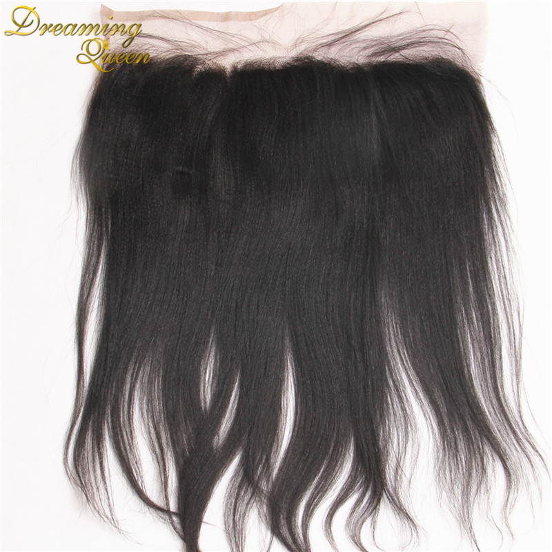 7A Permed Yaki Lace Frontal Closure Mongolian Lace Frontals Light Yaki Ear To Ear 13x4 Full