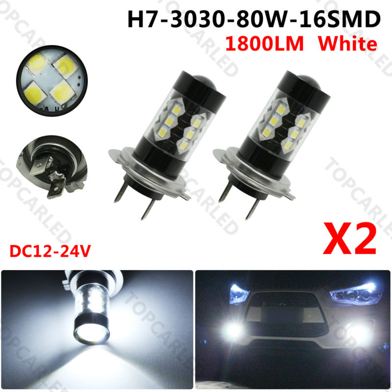 2X New  H7 80W High Power LED Car Auto Driving Fog Tail Headlight Light Lamp Bulb White 12V