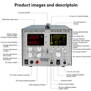 Image 2 - Cyfrowa lutownica SMD gorąca wiatrówka automatyczne uśpienie przeróbka BGA stacja lutownicza 110V/220V usb 5V 2A DC zasilacz 30V 5A