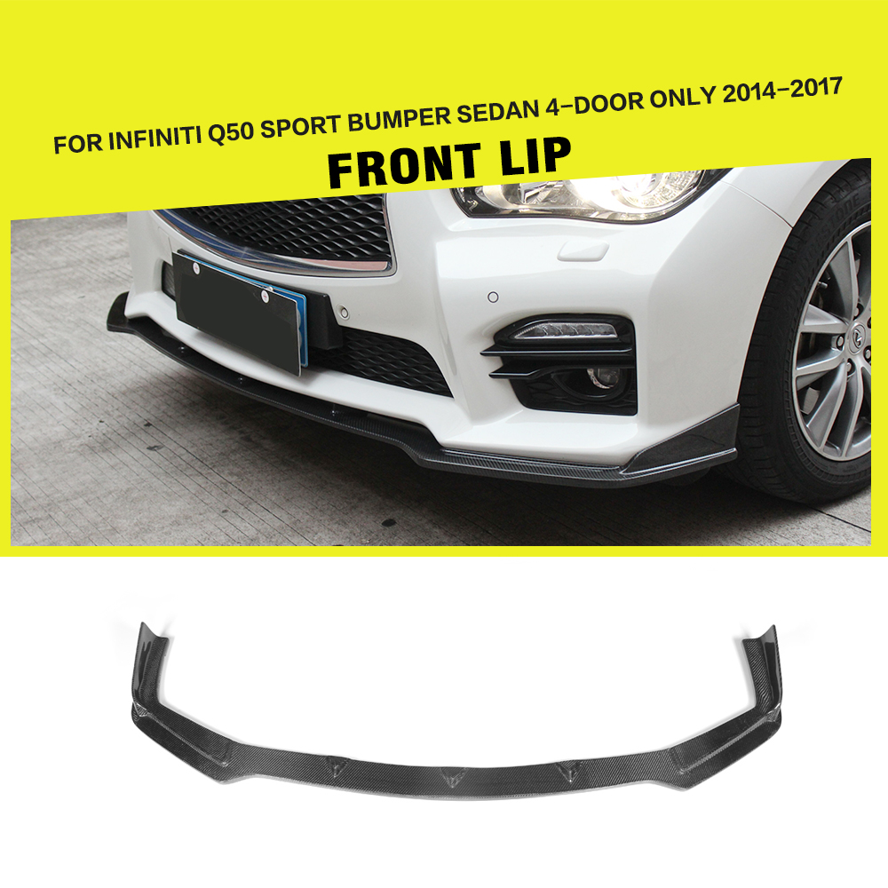 Front Lip Spoiler Bumper Chin Apron For Infiniti Q50 Sport Sedan 4-Door Only 2014-2017 Carbon Fiber / FRP Black Car Styling