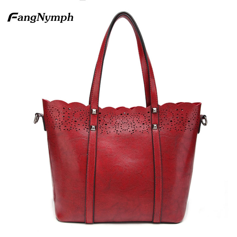 FangNymph Red Shoulder Hand Bag Women 2018 High Quality Big PU Leather Summer Tote Bags All Purpose Daily Handbags Girls Bags ...