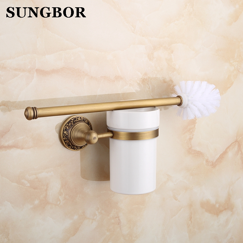 European Art Antique Brass Toilet Cleaning Brush Toilet Brush Holder, Toilet brush Bathroom Products Bathroom Accessories ZL8609 european luxury bathroom accessories antique bronze toilet brush holder bath products high quality free shipping