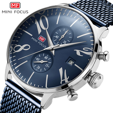 MINI FOCUS mannen Mesh Band Chronograaf Quartz Horloges Rvs Zaken Waterdicht Horloge voor Man Relogios 0135 Blauw