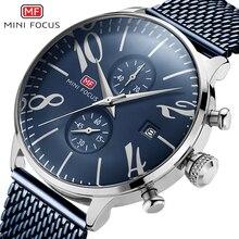 Reloj de pulsera MINI FOCUS de cuarzo con cronógrafo y banda de malla para hombre, reloj de pulsera resistente al agua para negocios de acero inoxidable para hombre, azul 0135