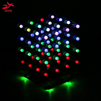 free shipping LED DIY KIT 3d4 RGB Light cubeeds Electronic DIY Kit 4X4X4 free shipping techone katana epo red kit version not include any electronic parts