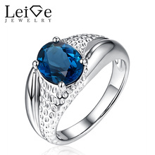 Leige Jewelry Natural London Blue Topaz Engagement Ring Prong Setting Sterling Silver Oval Cut Wedding Rings Anniversary Gift