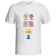 Beer Plus Donut T Shirt Fashion Style Creative Casual Crossover Fusion Short Sleeve T-shirt Novelty Print Punk Anime Unisex Tee