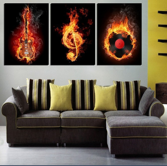 3pcs Unframed Wall Painting Home Decor Flaming Music Symbol Burning Guitar Football Canvas Art Hd Print