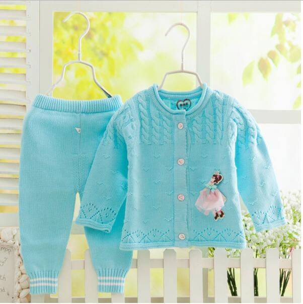 High quality autumn and winter baby 100% cotton thick sweater cardigan newborn sweater set Baby Sweater Knitting set