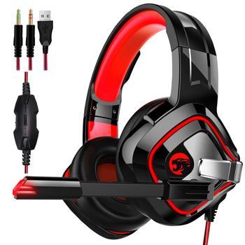 A66 Gaming Headset PS4 Best PC Stereo Headphones casque with Mic RGB LED Light for Xbox One Notebook Laptop Gamer Black&Red