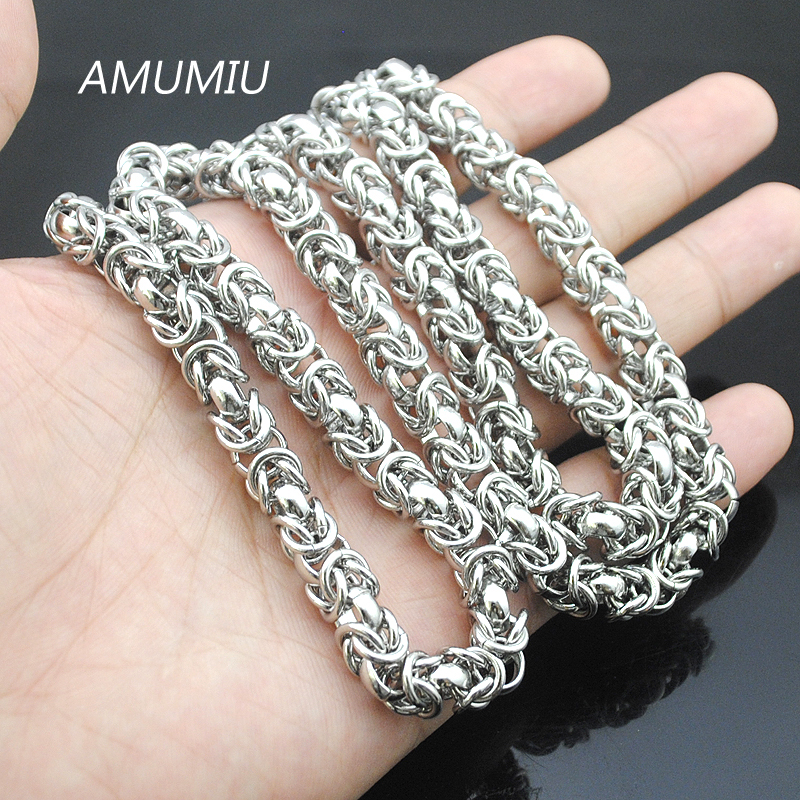 AMUMIU 40-90cm, 7mm Mens Boys Flat Byzantine Necklace Silver Tone Promotion Stainless Steel Chain Gift Hot Sale Jewelry HN032