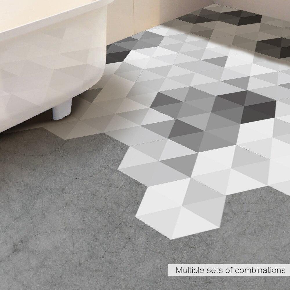 Adhesive Floor tilesPattern Grey Hexagon Design Peel and Stick Floor Tile