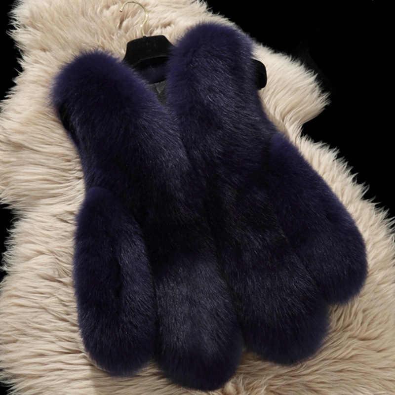 2018 Plus Size 4XL Women Winter Faux Fox Fur Fur Sleeveless Vest Coat Female Warm Fashion Fake Rabbit Fur Waistcoat Jackets X86