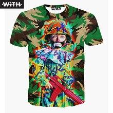 Camisetas de los hombres de Moda 2016 3d Carácter T-shirt de Diseño de Camuflaje Boy Monster Utahime Hombre Tattoo Imprimir Camiseta Hombre YZ663