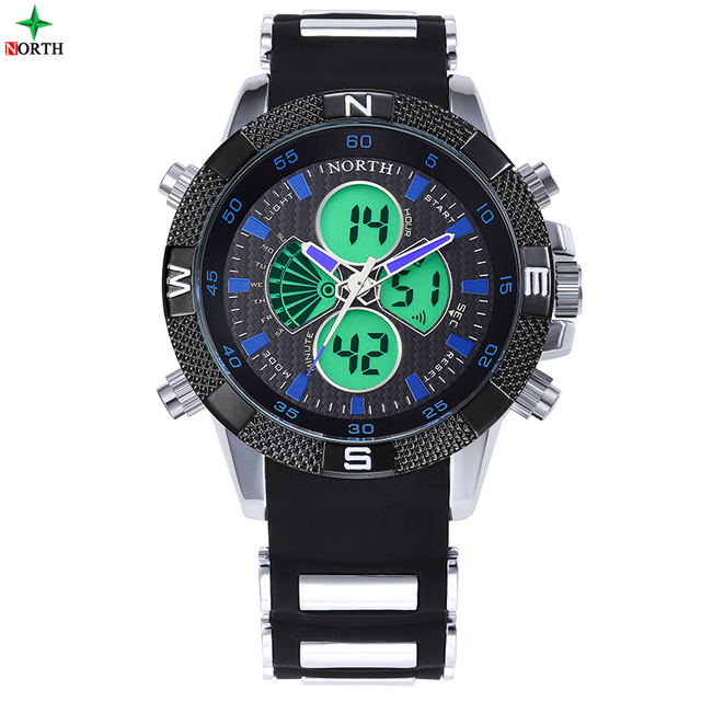 NORTH Brand LED Digital Watch Mens Military Watch Sports Watches Men 3ATM Swim Climbing Fashion Outdoor Casual Men Wristwatches