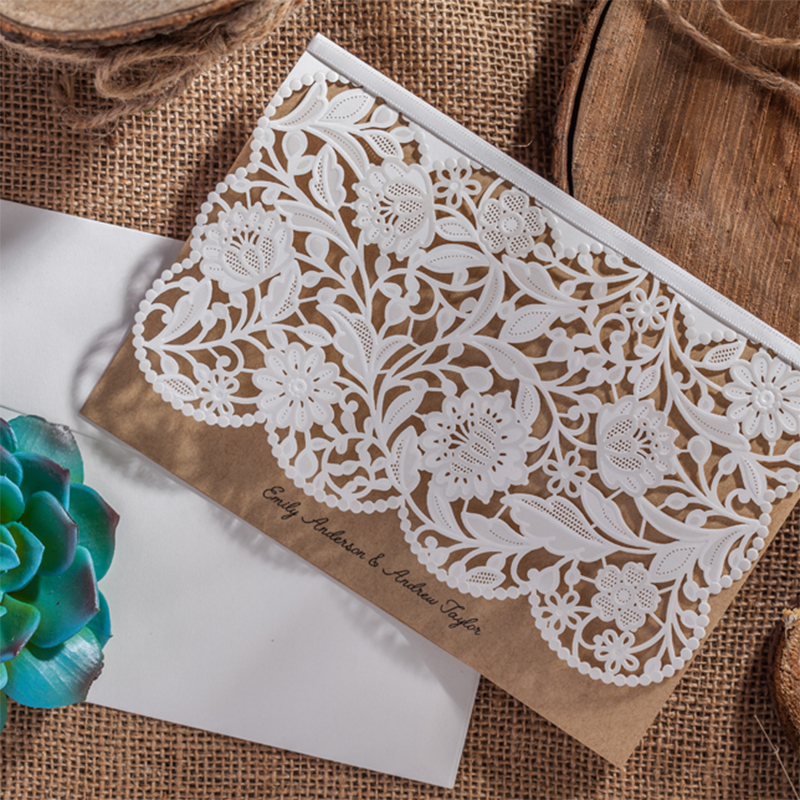 Lace Fower Vintage Wedding invitations Laser Cut Blank Paper Pattern Printing Invitation Card Kit Ribbons Decorations square design white laser cut invitations kit blanl paper printing wedding invitation card set send envelope casamento convite