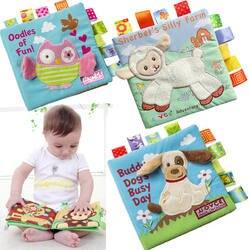 Животные Стиль Обезьяна/Сова/собака Новорожденные детские игрушки Обучающие Детские Тканевые книги милые детские младенец, Ткань Книга