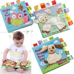 Animal estilo Mono/búho/perro recién nacido bebé juguetes aprendizaje educativo niños paño libros lindo bebé tela libro ratteles juguete