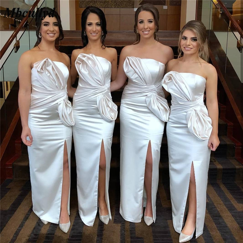 Mbcullyd Strapless Satin Bridesmaid Dresses 2019 With High Split Long Dress For Wedding Party For Woman Ivory Vestido Madrinha