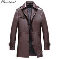 2019 Autumn Men Artificial Leather Jacket Fashion Brand High Quality Motorcycle Bomber Faux Leather Coats Male Outerwear Jacket