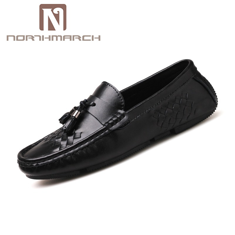 где купить NORTHMARCH Brand Leather Men Shoes 2018 New Breathable Comfortable Men Loafers Luxury Tassel Weave Men's Flats Casual Men Shoes по лучшей цене