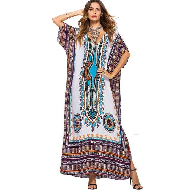 New Thailand African Retro Dashiki Dresses For Women Summer Bohemian boho Totem Print Maxi Long Sexy Robe Longue Femme 2018