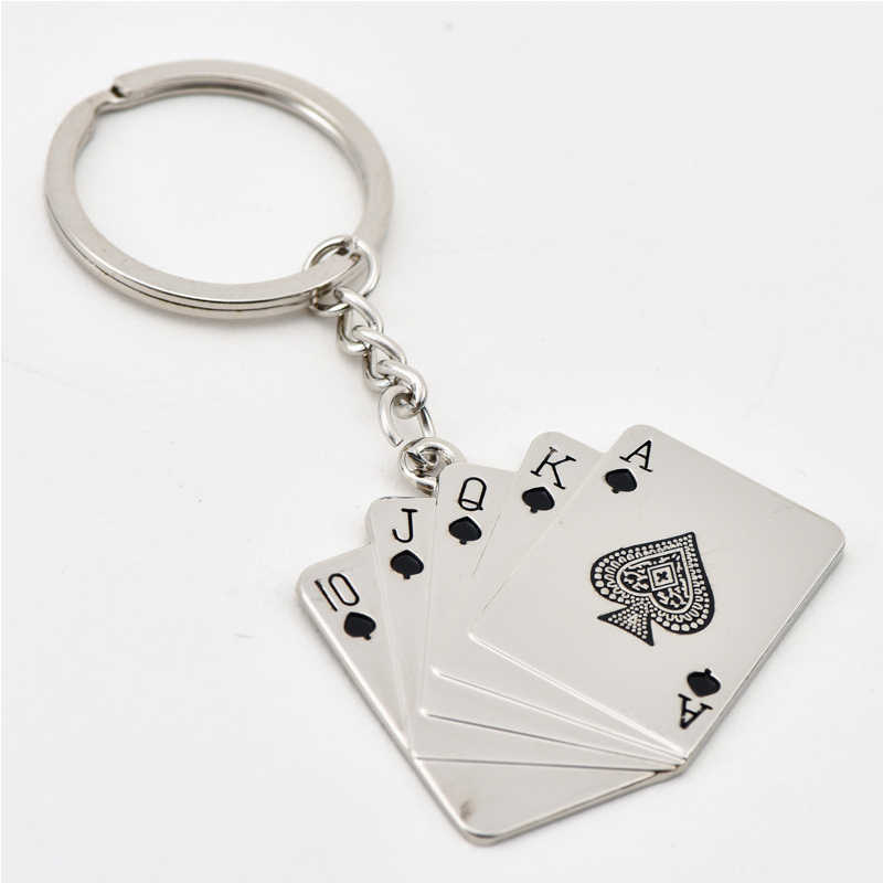 Personality KeyChain Royal Flush Poker Playing Card Keyring Metal Gifts Key chain Charm Jewelry For Women Men Car Accessories