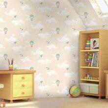 Beibehang hot air balloon paper plane children room wallpaper blue sky white clouds pink boy girl bedroom 3d