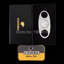 Free Shipping High Quality Cohiba Gift set 56 ring gauge metal cigar cutter 420J2 Stainless Steel