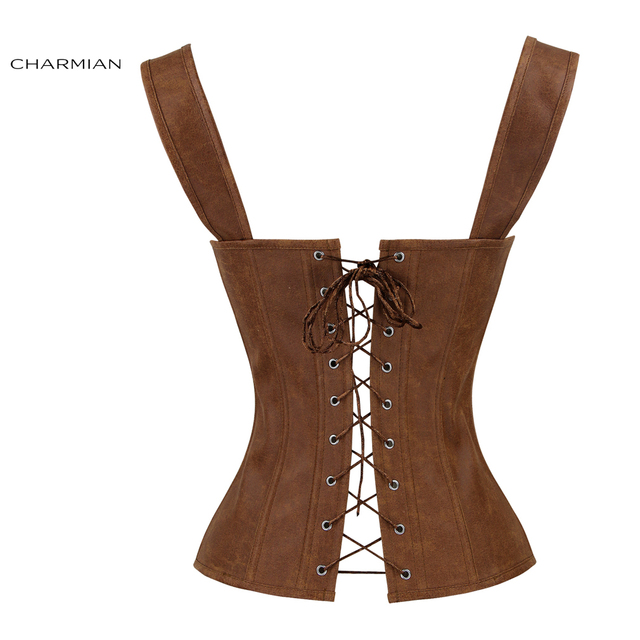 Charmian Faux Leather Corset