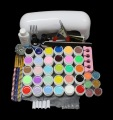 FT-84 Free shipping PRO 9W UV White Lamp 36 Color Pure UV GEL Powder Acrylic Brush Nail Art Tool KIT
