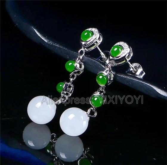 Beautiful 925 Sterling Silver Green White HeTian Jade Round Beads Dangle Line Ear Earrings Girl s