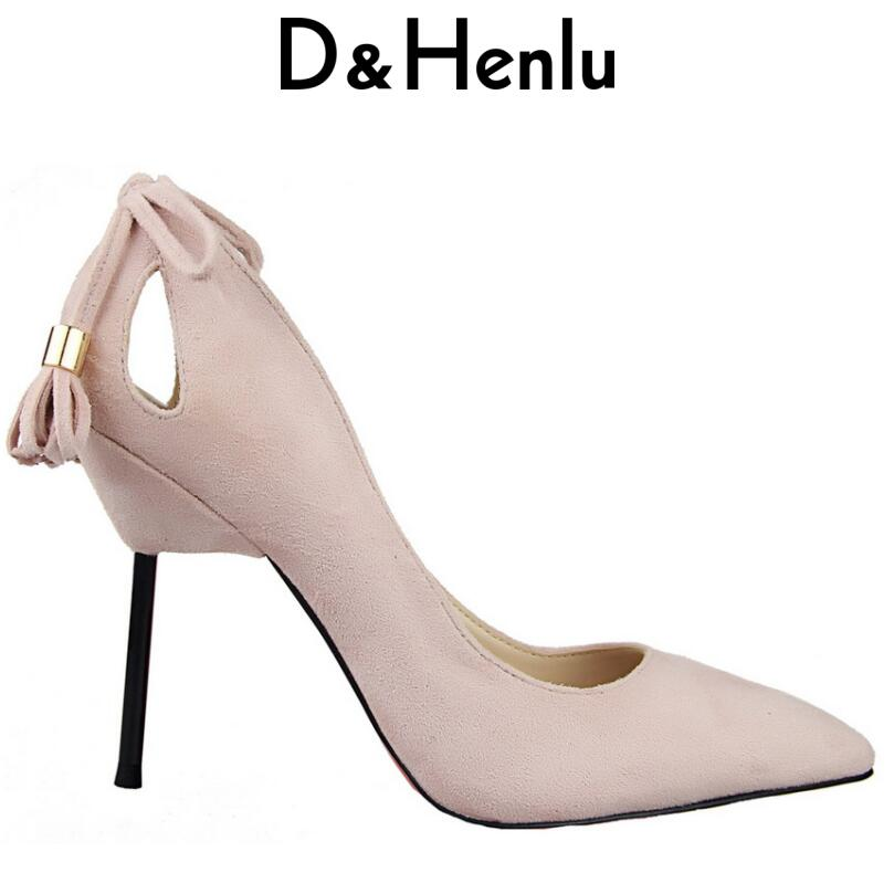 D&Henlu 2018 Shoes Stiletto Lady High Heels Women Pumps Tassel Thin Heel Pointed Toe Party Shoes Wedding Woman Flock Suede newest solid flock high heel pumps woman
