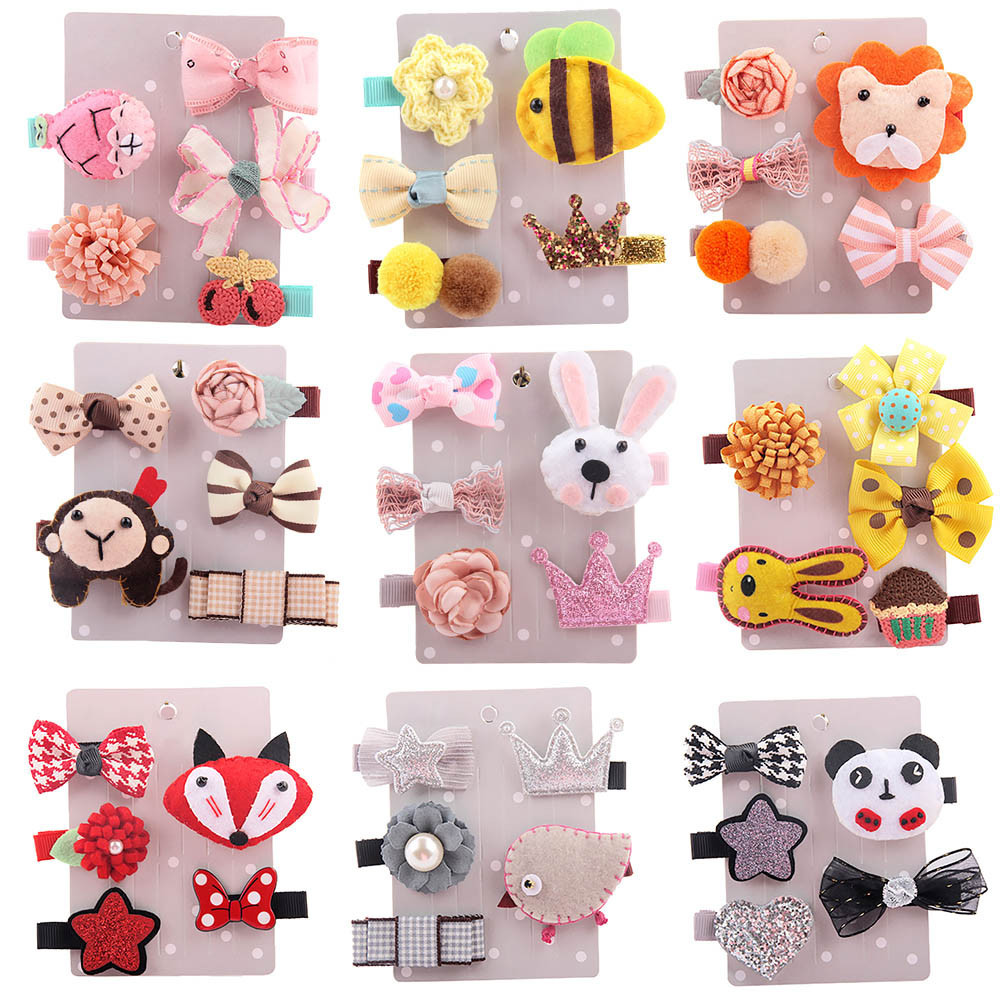 5pcs/set Kids Infant Hairpin Baby Girl Cartoon Animal Motifs Hair Clip Kids Girls Handmade Barrettes Accessories Headwear 15 hot 6 colors 1pc girls lovely cat ear hairpin cute barrettes hairclips headwear hair accessories