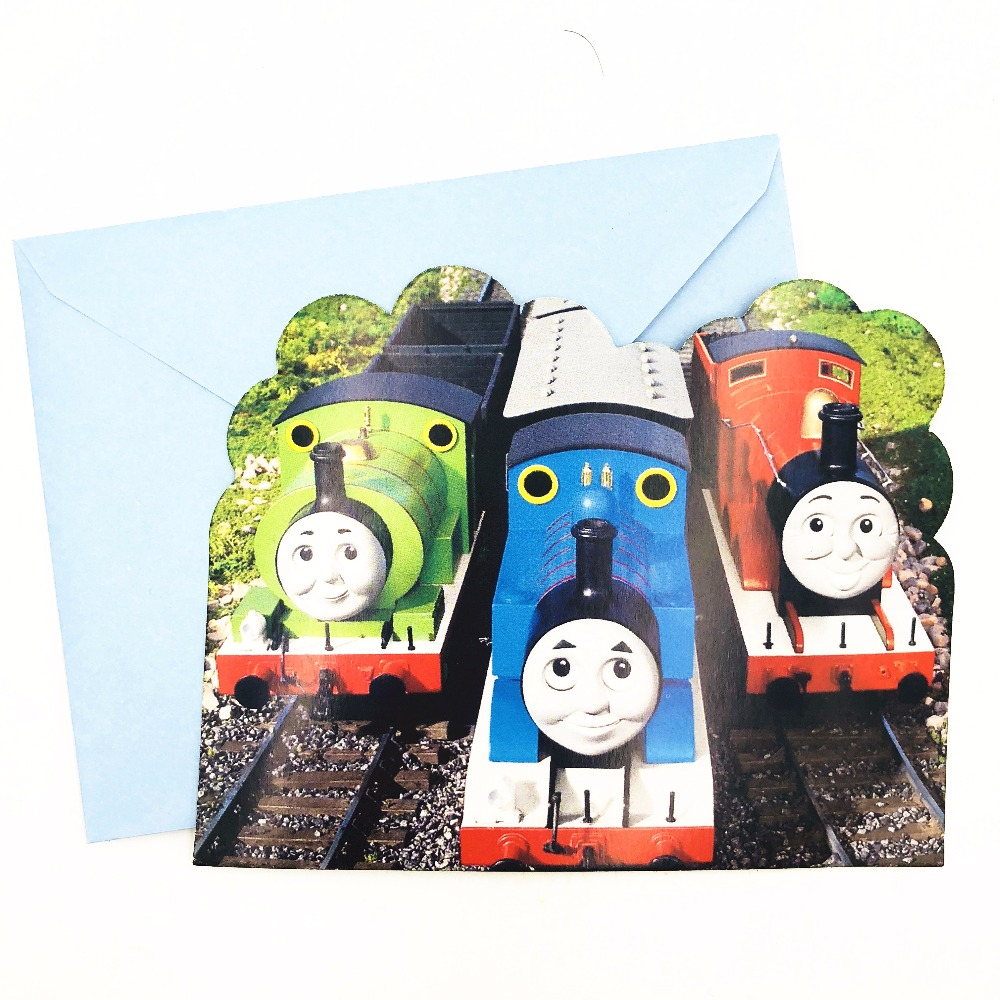 6pc set Cartoon Thomas And His Friends Invitation Card Children 39 s Birthday Party Supplies Event Decoration Kids Supplies Fovers in Cards amp Invitations from Home amp Garden