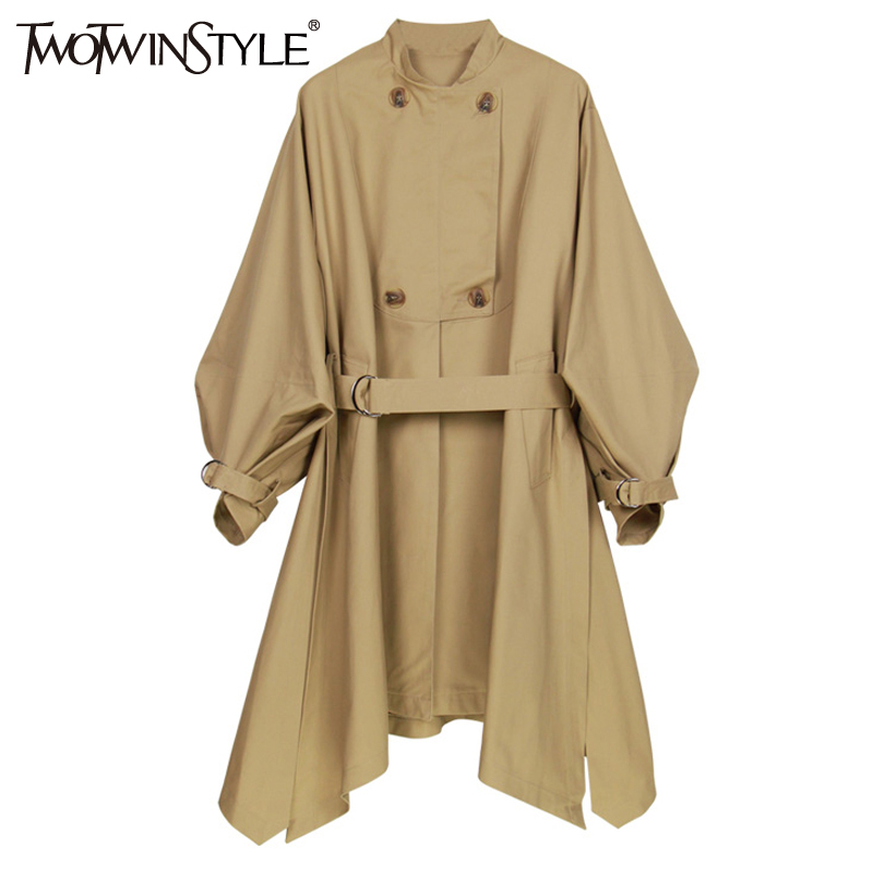 TWOTWINSTYLE Autumn Asymmetrical Trench Coat Female Lantern Long Sleeve Women s Windbreaker Lace up Midi Overcoat