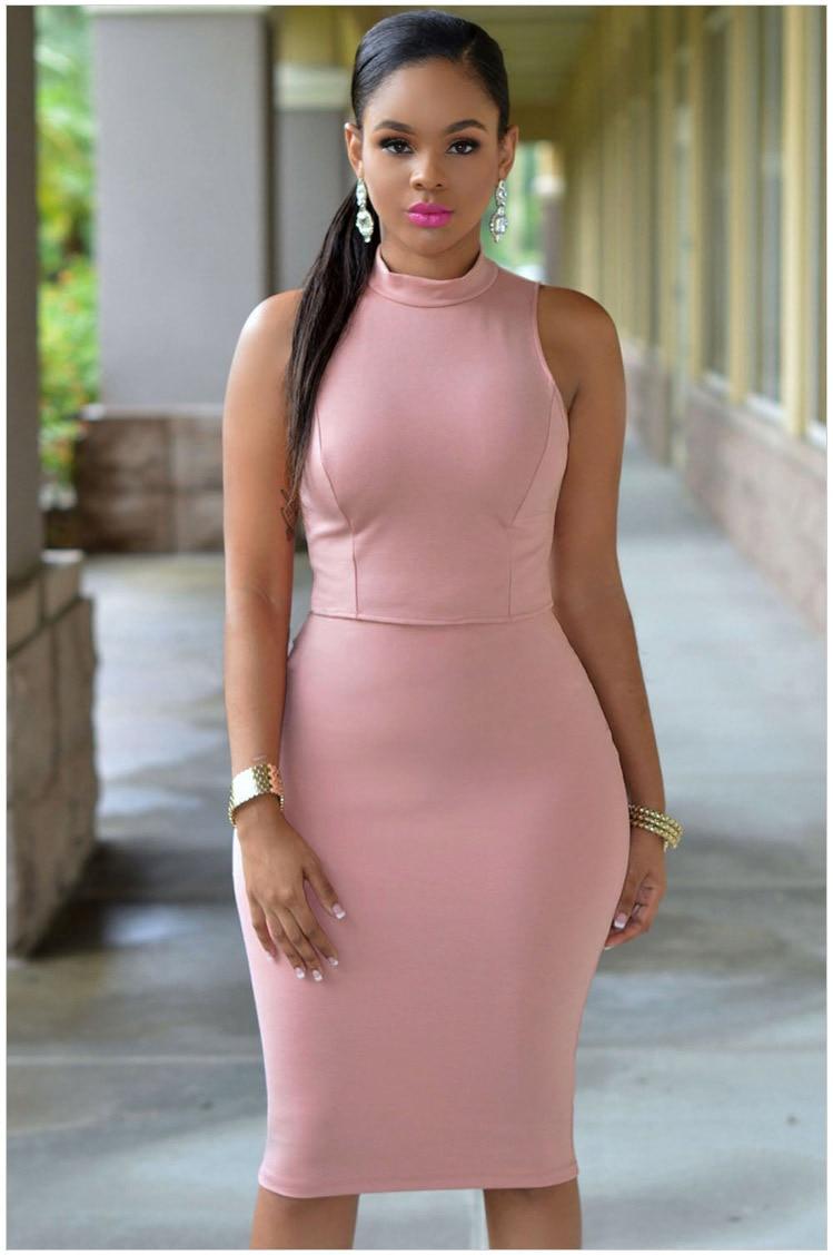 Hotsale Sexy Club Dress 2018 High Neck Sleeveless Midi Dress Women Plus Size  Lady Short Party Bodycon Dresses Club Wear LC0043-in Dresses from Women s  ... 9a7f5e3c9ea0